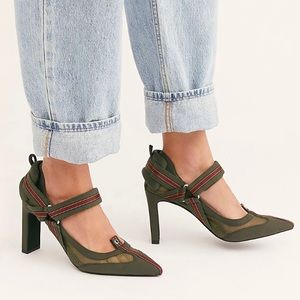 Jeffrey Campbell Hysteria Mesh & Mixed Media Mary Jane Wingtip Pump Olive Green